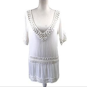Topshop White Tunic Top Size S